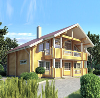 The project profiled wooden house with timber (logs) 227 square meters.