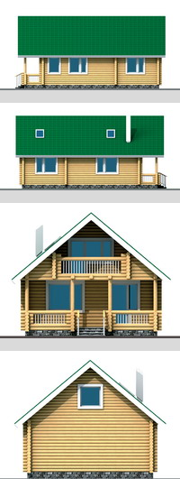 Elevations of the house with timber (logs) area of ??109 sq.m.
