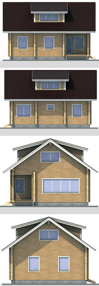 Elevations of the building with a bar area of ??128 sq.m.