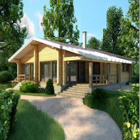 Project - visualization.  Canadian House or glued timber (logs). Area 112 sq.m