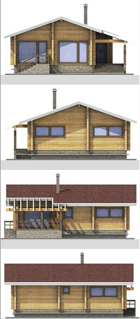 Elevations of the building with profiled beam area of ??112 sq.m.