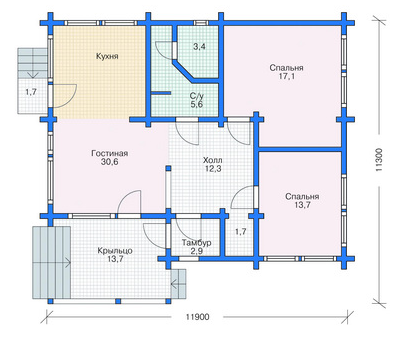 Floor plan home made from  lumber (logs) 112 sq.m.
