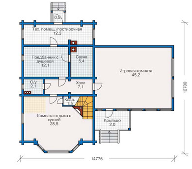 Plan of ground floor house 163 sq.m.