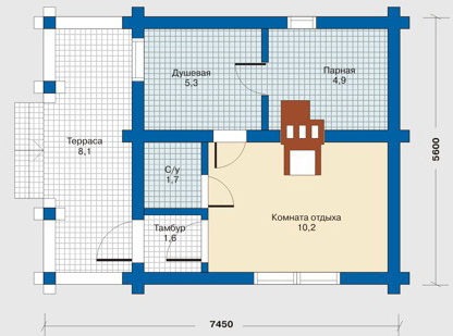 Floor Plan bath (sauna) 42 sq.m.