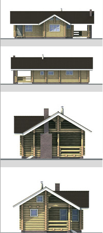 Elevations of the building from glued timber .area of ??116 sq.m. of laminated veneer lumber (logs). Area 116 sq.m.