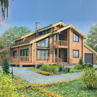 Draft wooden house with logs (timber) 225 square meters. built-up area 225 sq.m. Features - garage.