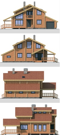 Elevations of the building - frame 225 sq.m.