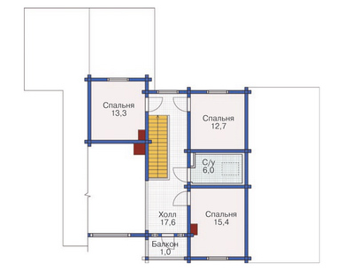 Plan of second floor wooden house 225 sq.m.