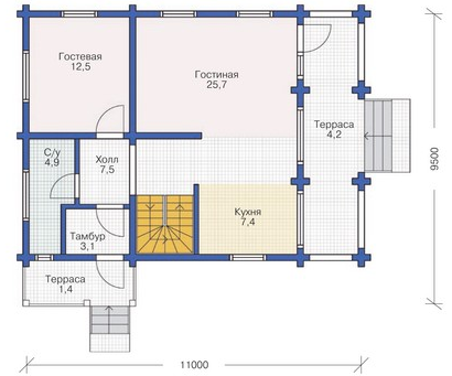 Plan of ground floor building with a bar 228 sq.m.