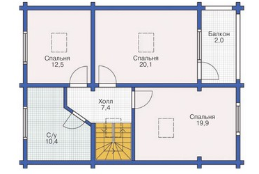 Plan of second floor building with a bar 228 sq.m.