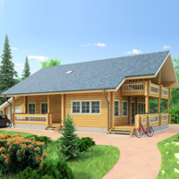 Project - visualization wooden house from the deck (profiled bar)  area of ??223 sq.m.