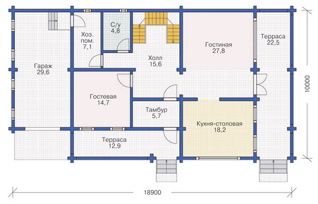 Plan of ground floor house 223 sq.m.