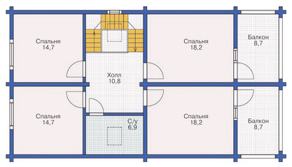 Plan of second floor house 223 sq.m.