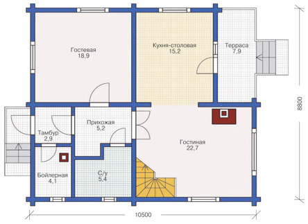 Plan of ground floor house 144 sq.m.