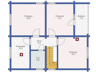 Plan of second floor house 144 sq.m.