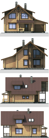 Elevations of the building with a bar area of ??145 sq.m.