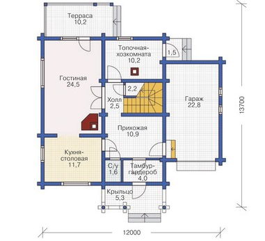 Plan of first floor wooden house 145 sq.m.