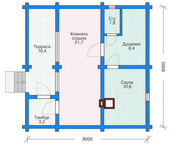Plan of first floor bath (sauna) with a beam 49 sq.m.