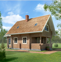 Будинок з оциліндрованогProject - visualization. Canadian House or glued timber (logs). Area 87 sq.m