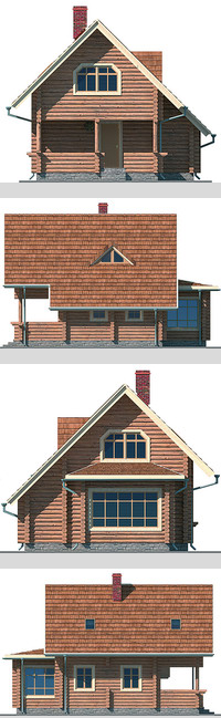 Elevations of the building with a bar area of ??87 sq.m.