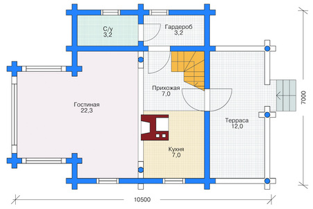 Plan of the first floor of the building 87 sq.m.