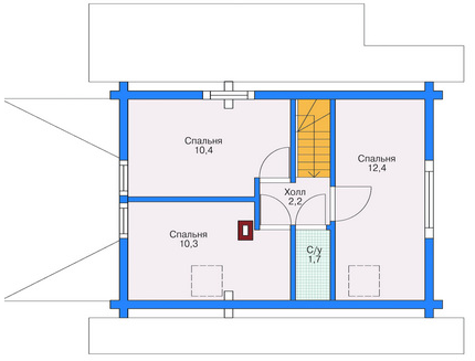 Plan of second floor building 87 sq.m.